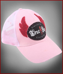Women's Pink True Sin Logo Wings Trucker Hat