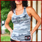 April in our Camo Bombshell Tank Top